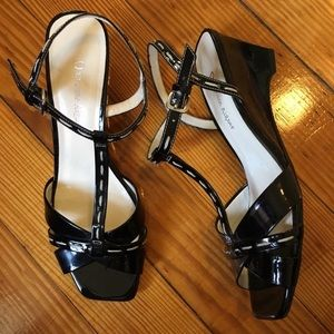 Vintage 90s Square Toe Wedge T-Strap Heels Patent